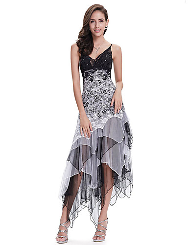 cheap Cocktail Dresses-A-Line White Black Party Wear Cocktail Party Dress Spaghetti Strap Sleeveless Asymmetrical Chiffon Lace with Sequin Lace Insert 2020