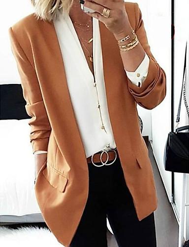 preiswerte Damen Blazer-Damen Blazer, Solide Schal Revers Polyester Schwarz / Wein / Rosa
