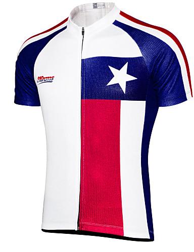 povoljno Odjeća za vožnju biciklom-21Grams Muškarci Kratkih rukava Biciklistička majica Sky Blue+White Teksas Državne zastave Bicikl Majice Brdski biciklizam biciklom na cesti UV otporan Prozračnost Ovlaživanje Sportski Terilen Odjeća