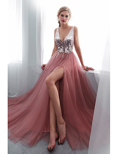 cheap Special Occasion Dresses-A-Line Empire Pink Wedding Guest Prom Dress V Neck Sleeveless Sweep / Brush Train Tulle Sequined Polyester with Sequin Split Front 2020