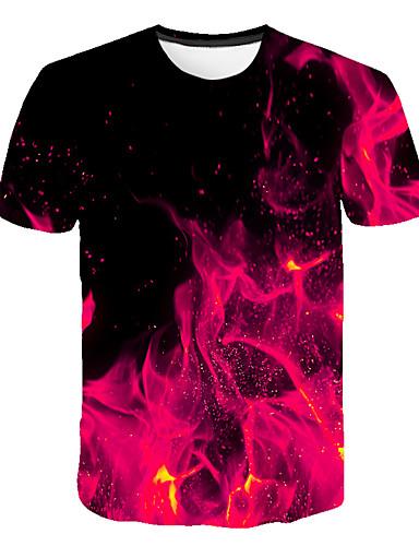 voordelige Heren T-shirts & tanktops-Heren Street chic / overdreven Print T-shirt Kleurenblok / 3D / Grafisch Fuchsia