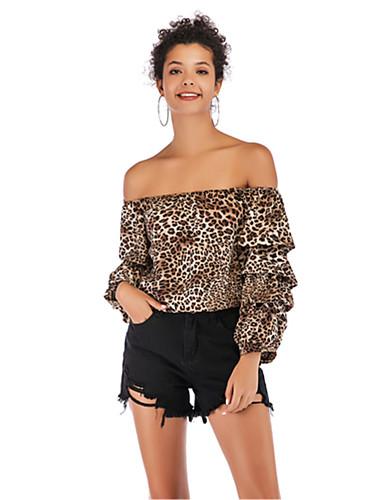 billige Dametopper-Bluse Dame - Blomstret / Leopard Rød