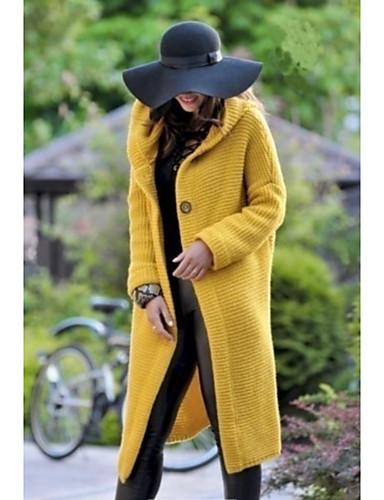 Χαμηλού Κόστους Γυναικείες Μπλούζες-Γυναικεία Καθημερινά Μακρύ Παλτό, Μονόχρωμο Με Κουκούλα Μακρυμάνικο Πολυεστέρας Μπεζ / Γκρίζο / Κίτρινο / Λεπτό