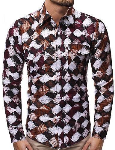 voordelige Herenoverhemden-Heren Standaard Print Overhemd camouflage / Tie Dye Zwart & Rood / Zwart & Wit / Tropisch blad Regenboog