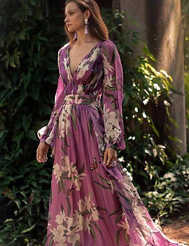 levne Maxi šaty-Dámské Elegantní Swing Šaty - Květinový, Květinový styl Maxi Hluboké V