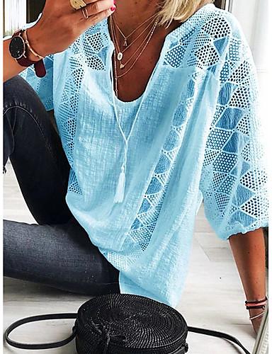 billige T-skjorter til damer-T-skjorte Dame - Ensfarget, Blonde / Lace Trim Elegant Lyseblå