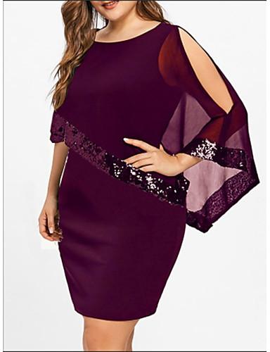voordelige Grote maten jurken-Dames Grote maten Standaard Ruimvallend T Shirt Jurk - Effen, Pailletten Patchwork  Boven de knie