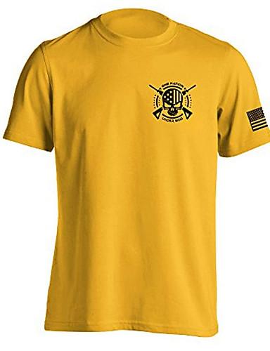 voordelige Heren T-shirts & tanktops-Heren T-shirt Grafisch Licht Bruin