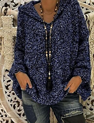 billige Dametopper-Dame Ensfarget Langermet Pullover Genserjumper, Med hette Svart / Vin / Blå S / M / L