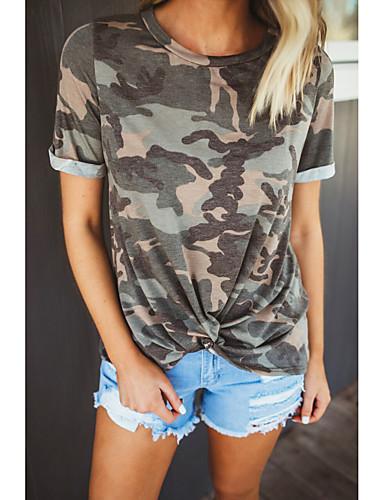 billige Dametopper-T-skjorte Dame - Kamuflasje, Trykt mønster Grunnleggende Militærgrønn