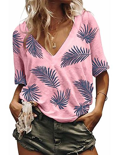 billige Dametopper-T-skjorte Dame - Blomstret, Jacquard Grunnleggende BLå & Hvit Hvit