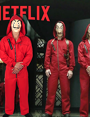 cheap Movie & TV Theme Costumes-la casa de papel Dali Mask Outfits Men's Women's Movie Cosplay Mask / Red Mask Costume Halloween Carnival Masquerade 100% Polyester