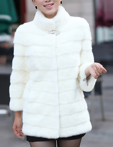preiswerte Pelzmäntel-Damen Alltag Grundlegend Übergrössen Standard Kunstpelz-Mantel, Solide Ständer Langarm Kunst-Pelz Schwarz / Weiß