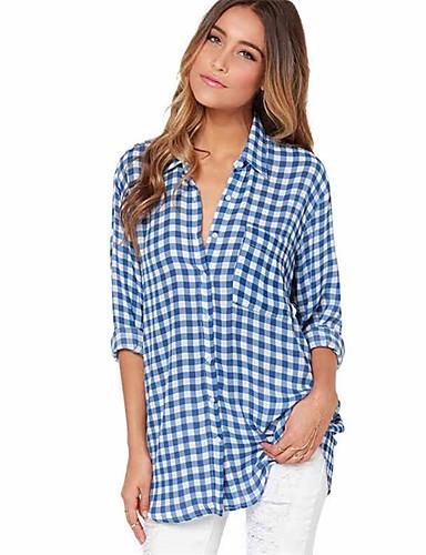 billige Skjorter til damer-Skjorte Dame - Ruter, Trykt mønster Bohem BLå & Hvit Blå