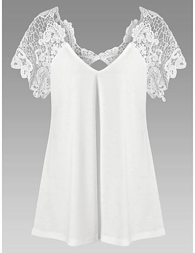 billige Dametopper-V-hals T-skjorte Dame - Ensfarget, Blonde Elegant Svart