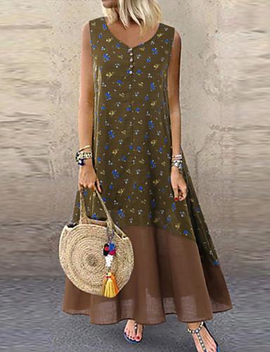 voordelige Maxi-jurken-Dames A-lijn Jurk - Geometrisch, Patchwork Midi