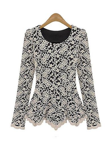 billige Dametopper-T-skjorte Dame - Ensfarget, Blonde / Lapper Elegant Svart