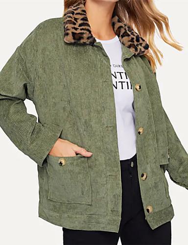 preiswerte Tierfell-Druck-Damen Alltag / Ausgehen Grundlegend / Street Schick Herbst Winter Standard Mantel, Solide Hemdkragen Langarm Polyester Pelzkragen Armeegrün