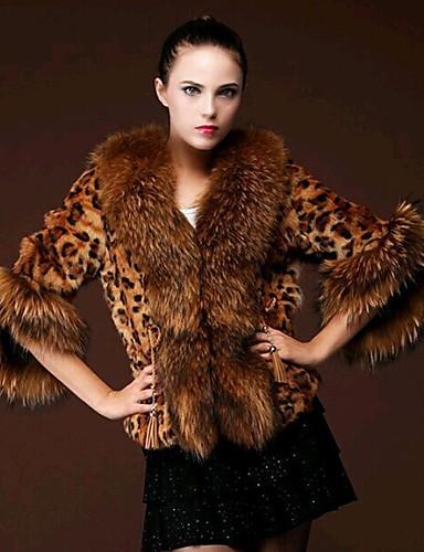 preiswerte Tierfell-Druck-Damen Party Anspruchsvoll Herbst Winter Standard Kunstpelz-Mantel, Leopard V-Ausschnitt Langarm Kunst-Pelz Pelzkragen Braun