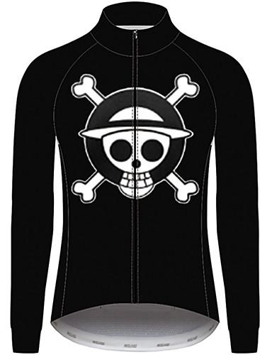povoljno Odjeća za vožnju biciklom-21Grams One Piece Muškarci Dugih rukava Biciklistička majica - Crn Bicikl Biciklistička majica Majice UV otporan Prozračnost Ovlaživanje Sportski 100% poliester Brdski biciklizam Odjeća / Quick dry