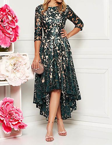 preiswerte Modische Kleider-Damen Elegant Spitze A-Linie Kleid - Spitze, Lace Printing Asymmetrisch / Schlank