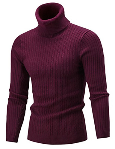 cheap Men's Sweaters & Cardigans-Men's Solid Colored Long Sleeve Slim Pullover Sweater Jumper, Turtleneck Fall Black / Wine / White US32 / UK32 / EU40 / US34 / UK34 / EU42 / US36 / UK36 / EU44