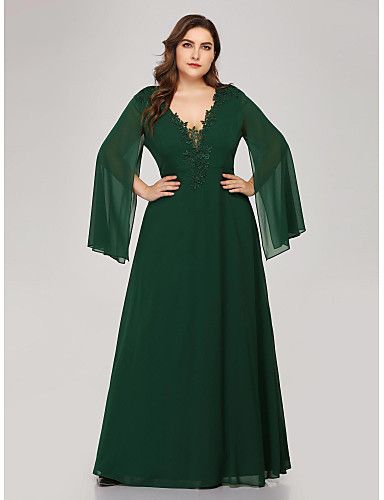 cheap Plus Size Dresses-A-Line Plus Size Green Wedding Guest Formal Evening Dress V Neck Long Sleeve Floor Length Chiffon Corded Lace with Appliques 2020