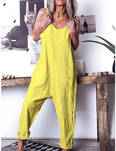 billige Jumpsuits og sparkebukser til damer-Dame Gul Blå Grønn Sparkedrakter, Ensfarget S M L