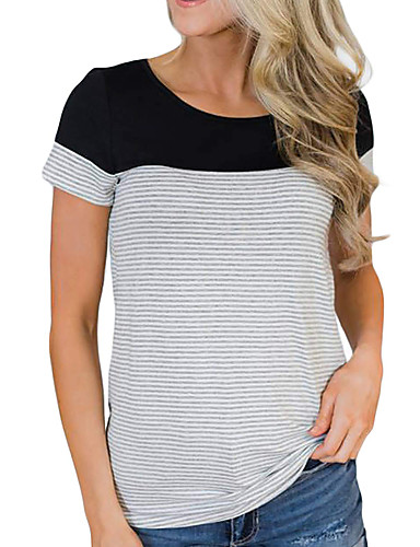 billige Dametopper-T-skjorte Dame - Ensfarget / Fargeblokk, Lapper Grunnleggende BLå & Hvit / Svart & Rød / Svart og hvit Svart