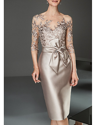 cheap Mother of the Bride Dresses-Sheath / Column Mother of the Bride Dress Elegant Plus Size See Through Bateau Neck Knee Length Satin Tulle Half Sleeve with Beading Ruffles 2020 Mother of the groom dresses