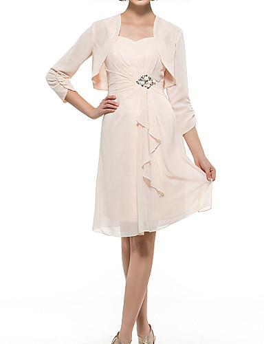 voordelige Wrap Dresses-Strak / kolom / Tweedelig Sweetheart Tot de knie Chiffon Bruidsmoederjurken met Plooien door LAN TING Express / Wrap inbegrepen