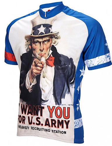 povoljno Odjeća za vožnju biciklom-21Grams Retro American / USA Ujak Sam Muškarci Kratkih rukava Biciklistička majica - Blue / Bijela Bicikl Biciklistička majica Majice Prozračnost Ovlaživanje Quick dry Sportski Terilen Brdski