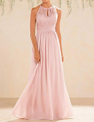 cheap Bridesmaid Dresses-A-Line Halter Neck Floor Length Chiffon / Lace Bridesmaid Dress with Lace / Pleats / Open Back