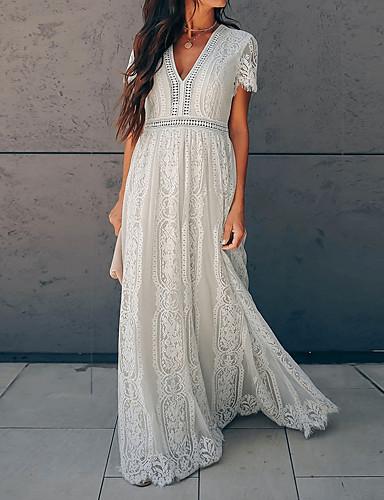 povoljno Bijele haljine-Žene Swing haljina Maks haljina - Kratkih rukava Duboki V Osnovni Čipka Obala S M L XL