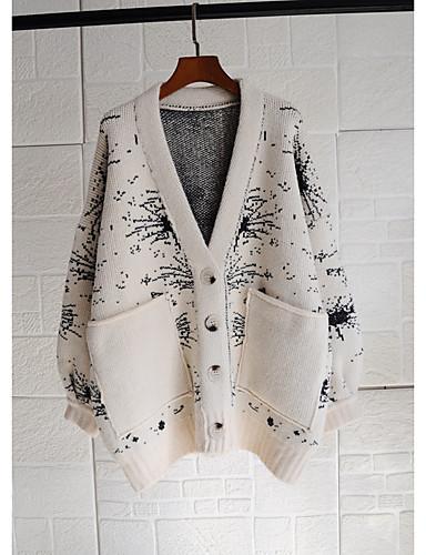 preiswerte Sweater mit Muster-Damen Abstrakt Langarm Lose Strickjacke Pullover Jumper, V-Ausschnitt Herbst / Winter Schwarz / Gelb / Blau Einheitsgröße