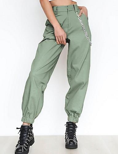 Жен. Спортивные Брюки-карго Брюки - Однотонный Черный Белый Зеленый XS S M