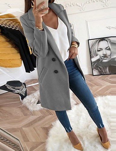 Women's Coat Daily Plus Size Long Solid Colored Light Yellow / Black / Blue S / M / L