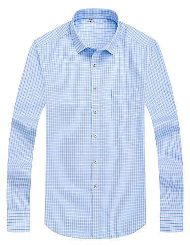 preiswerte Hemden-Herrn Hahnentrittmuster - Geschäftlich / Grundlegend Hemd Leicht Blau