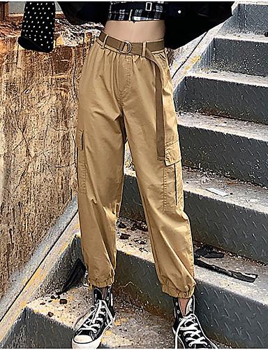 Жен. Классический Брюки-карго Брюки - Однотонный Завышенная Черный Военно-зеленный Хаки S M L