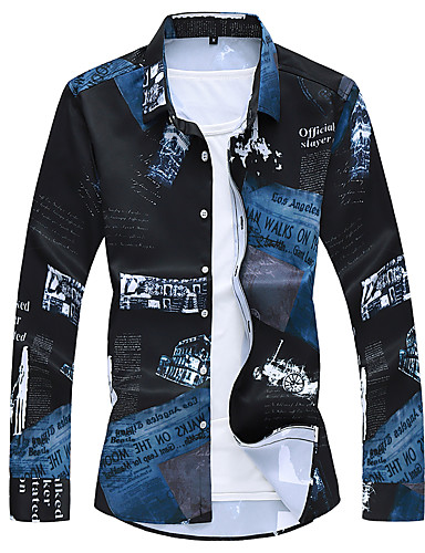 voordelige Herenoverhemden-Heren Zakelijk Overhemd Letter Zwart