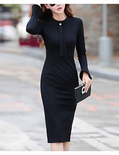 preiswerte Etuikleider-Damen Elegant Hülle Kleid Solide Knielang