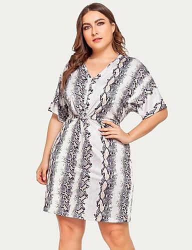 voordelige Grote maten jurken-Dames A-lijn Jurk - Gestreept Tot de knie