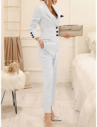 preiswerte Anzüge-Damen Anzüge Gekerbtes Revers Polyester Schwarz / Weiß