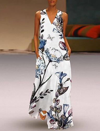 levne Maxi šaty-Dámské Základní Cikánský Velkoformátové A Line Swing Šaty - Květinový, Patchwork Midi Hluboké V