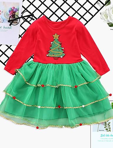 preiswerte Baby & Kinder-Baby Mädchen Grundlegend Druck / Weihnachten Langarm Kleid Rote
