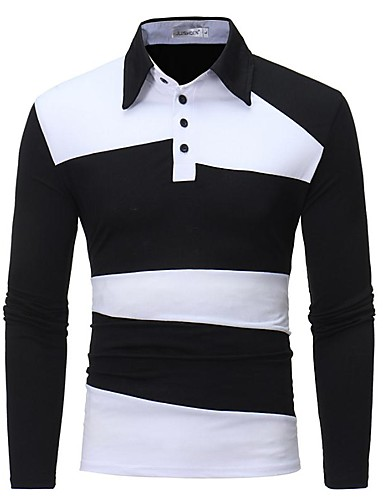levne Pánská polo trika-Pánské - Jednobarevné / Barevné bloky Základní / Elegantní Polo Černá