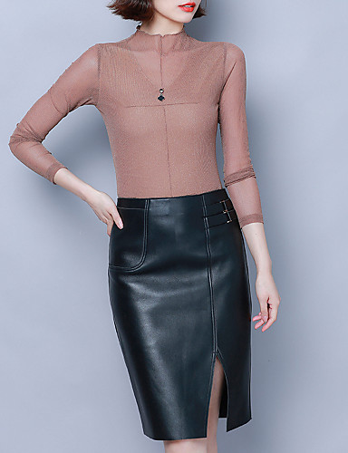 billige Dametopper-Skjorte Dame - Ensfarget, Lapper Elegant Svart