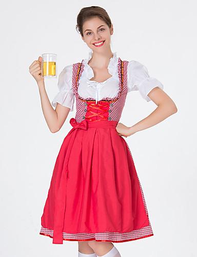 baratos Halloween & Fantasias de Carnaval-Oktoberfest Dirndl Trachtenkleider Mulheres Vestido Bávaro Ocasiões Especiais Vermelho