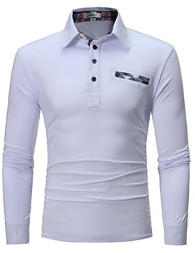 levne Pánská polo trika-Pánské - Jednobarevné Business / Elegantní Polo Bílá