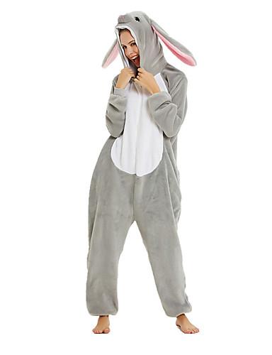 preiswerte PAJAMAJUMPSUITS-Junior Erwachsene Kigurumi-Pyjamas Hase Kaninchen Pyjamas-Einteiler Baumwollflanell Weiss + grau Cosplay Für Herren und Damen Tiernachtwäsche Karikatur Fest / Feiertage Kostüme